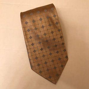 """CALVIN KLEIN Men's Necktie Tan Silver Silk 3.75"""""""